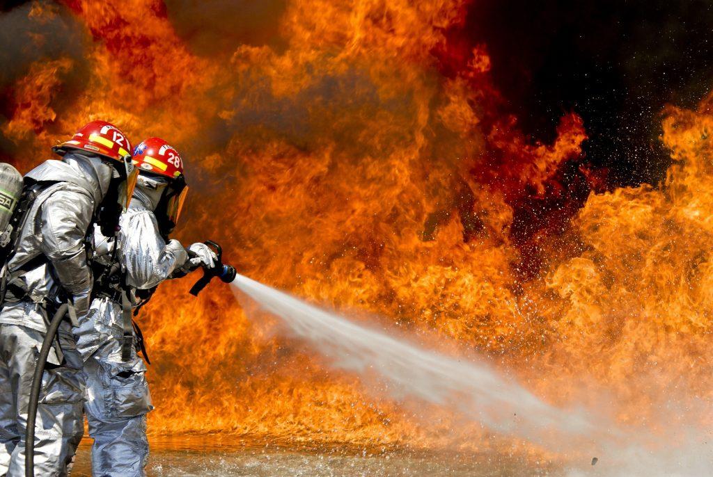 firefighters battling fire blaze
